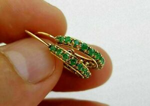 1.28 Ct Round Cut Green Emerald Huggie Hoop Earrings 14k Yellow Gold Over
