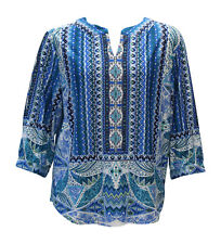 N Touch Peggi Blue / Teal  Scarf Print Blouse Tunic Top  size   Large      446A