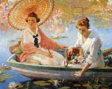 Ladies Water Lily Pond Boat Parasol Art - Summer by C C Cooper 8x10 Print 0246