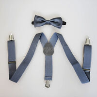 Dark Gray Suspender and Bow Tie Set for Baby Toddler Kids Boys Girls (USA)