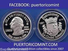 Silver PESETA BARCELONETA 2009 Puerto Rico Boricua Quarter 1/100 Plata