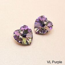 2 x Genuine SWAROVSKI Crystal HEART PENDANTS 10MM ~Clear AB/ Siam AB/ VL Purple~
