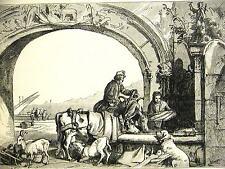 Edwin Landseer CATTLE GOATS & DOGS at FOUNTAIN in GENEVA 1870 Antique Art Matted