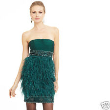 SUE WONG $518 ostrich feather occasion cocktail party social dress GREEN 6 New