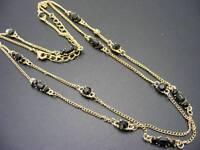 "$18 Rachel Black Rhinestone Station Necklace Goldtone Long Strand 40"" Long"