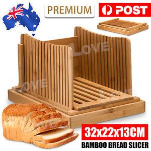 Bamboo Bread Slicer Loaf Cutting Guide Board Adjustable & Foldable