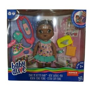 Baby Alive Make Me Better Baby Doll African American Check Temp Drinks & Pees