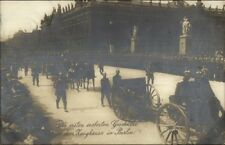 Berlin Germany Military Parade Cannon Hun Helmets Real Photo Postcard