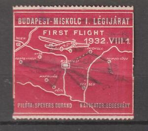 Hungary Cinderellas Poster Seal Stamp Budapest Miskolc I Legijarat First flight