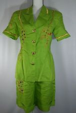 Ann French Green 2 Pc Dress Suit Embellished Jacket Shorts Size 10 Ramie Avant