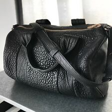 Alexander Wang Black Pebbled Rocco Duffle Bag With Rosegold Hardware