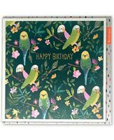 Birthday Budgies Bright Neon Childrens Greetings Card Kids Foiled Illustration