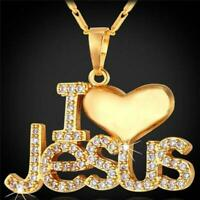 Pendant I Love Jesus Necklace Jewelry Chain Silver Charm Christian Heart Cross H