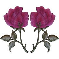 Pair of Pink Rose Patches Iron / Sew On Jacket T Shirt Jeans Flower Patch Badge