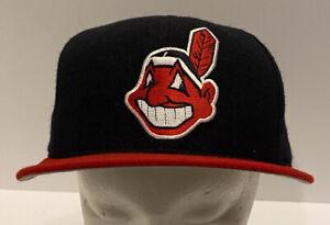 Vtg Cleveland Indians New Era 5950 Pro Model Baseball Hat 7 5/8 Fitted USA Wool