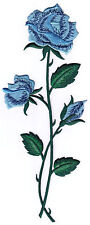 BLUE ROSE FLOWER EMBROIDERY IRON ON APPLIQUE PATCH - FLOWERS - ROSES