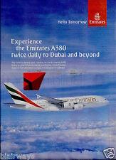 EMIRATES AIRLINES 2013 AIRBUS A380 2 FLIGHTS DAILY DUBAI/HONG KONG/BANGKOK AD