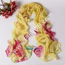 SILK Chiffon Feel Shawl,Pashmina, Floral Pink ,Yellow Dots, Wrap,Scarf,Stole