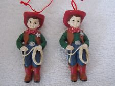 Lot Of 2 Young Sheriff Boy Cowboy With Rope Christmas Ornaments