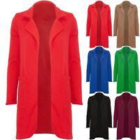 Womens Ladies Open Front Casual Pockets Coat Boyfriend Jacket Blazer Cardigan