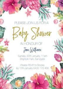 Personalised Baby Shower Bridal Shower Invitations Floral Boho Watercolour Navy