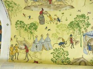 BRUNSCHWIG & FILS FABRIC TRIBUTE TO JOHN S CHURCHILL  MONKEY MAYHEM - YELLOW