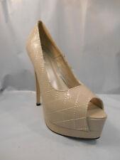 Beauty Heel Chiba Nude Brown Check Platform Peep Toe High Heels Pumps Sz 8.5 M