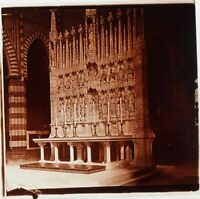 Italia Bologna Chiesa San Francesco Altare, Foto Stereo Placca Lente Ca 1910