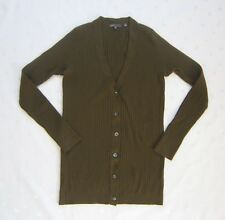 vince. V Neck Buttons 100% Cashmere Ribbed Cardigan Sweater in Olive Green Sz S