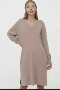 BRAND NEW H&M Brown Basics V Collar Knitted Long Sleeve Dress Medium Womens