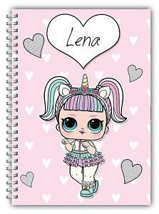 A5 PERSONALISED KIDS  LOL CUTE SURPRISE NOTEBOOK NOTES BOOK 100 LINED BLANK PAGE