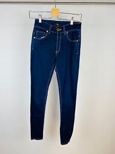 Baukjen Blue Dark Wash Contrast Stitch Slim Leg Stretch Denim Jeans UK 10
