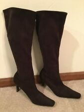 Valerie Stevens brown stretch suede knee high 10M