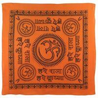 "Large Orange OM AUM Bandana/Bandanna Hindi Scarf Chakra Hindu Buddhist 24""x24"""
