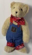 "1995 Vermont Teddy Bear Jointed 12"" Farmer Overalls Plush"