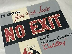 Original Jean Paul Sartre NO EXIT RARE silk-screened poster mid-century French