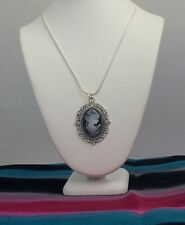 "18"" Silver Frame Vintage Girl Women Cameo Pendant Charm Chain Necklace, Mom Gift"