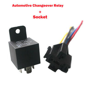 NEW 12/24V Automotive Changeover Relay 40/80A 4/5Pin for Car Bike Van+Socket