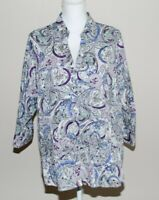 212 Collection Woman's Button Down Blouse Top Size 2X 3/4 Sleeve Paisley Stretch