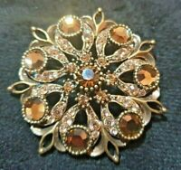 Vintage M&S Gold Tone  amber colour glass & rhinestones Flower Style Brooch