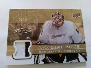 2008-09 Upper Deck Series 1 Game Patch GJ-JG Jean-Sebastien Giguere Anaheim...