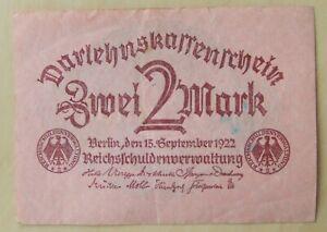 German banknote 2 mark dated 1922