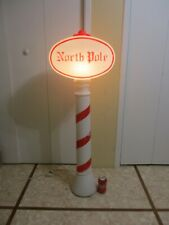 """Vintage North Pole Candy Cane Sign 45"""" Lighted Christmas Blow Mold From UNION (b"""