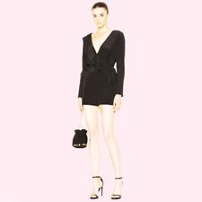 9a9d8474d04c Diane Von Furstenberg Womens Asymmetric Ruffle Romper Size 10 Black Silk  Pockets
