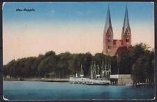 Alte AK Neu Ruppin Hafen 1918, Schiffe, Kirche, gel. als Feldpost n. Berlin
