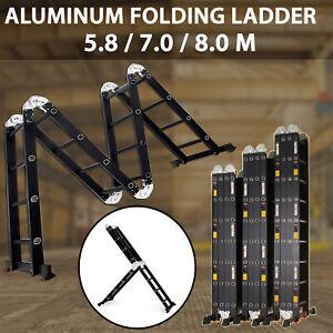 Multi Purpose Aluminium Folding Extension Ladder Step Scaffold 5.8M, 7M or 8M