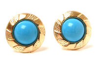 9ct Gold Turquoise Round Stud earrings Made in UK Gift Boxed studs Christmas