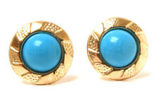 9ct Gold Turquoise Round Studs earrings Made in UK Gift Boxed