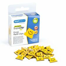 Rapesco 'Supaclip 40' Yellow Assorted Emoji Refill Clips (Box of 100)