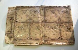 "ANTIQUE WORLD MAP Print GIFT BAG XXLarge 42"" X 52"" inch/106 - 132cm - Nwot"